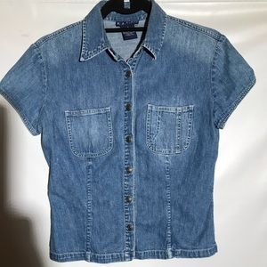 Vintage Ralph Lauren Denim Shirt Short Sleeved